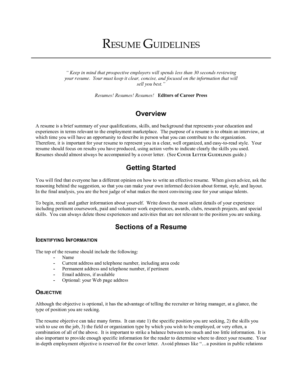 great objective lines for resumes