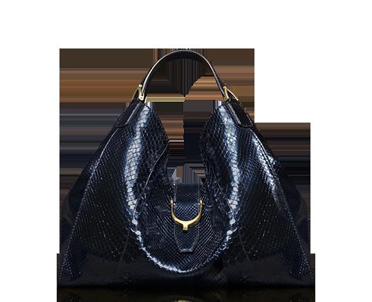 a60d997ee889 Gucci soft stirrup dark blue python shoulder bag