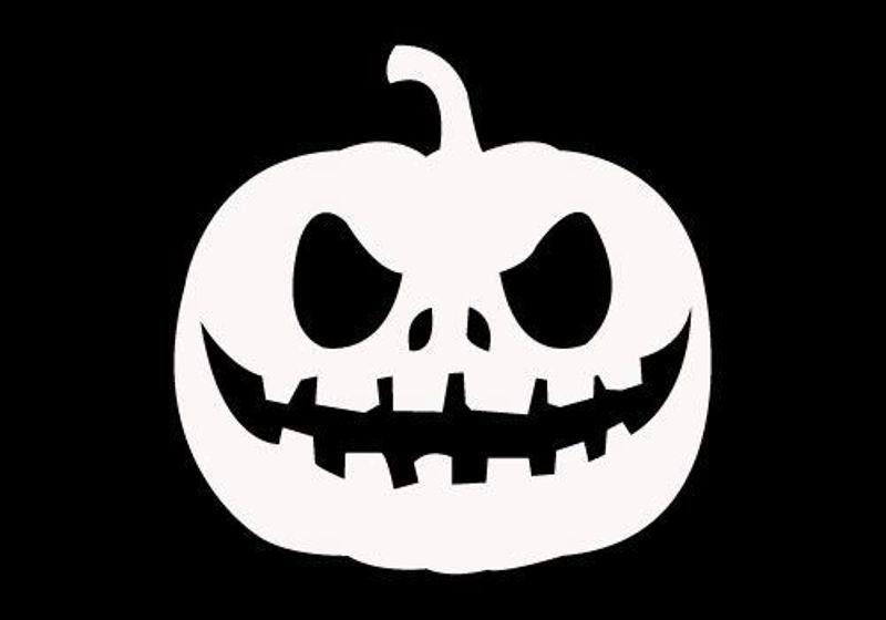 77# Vinyl Decal Scary Pumpkin Face Halloween U Pick Color