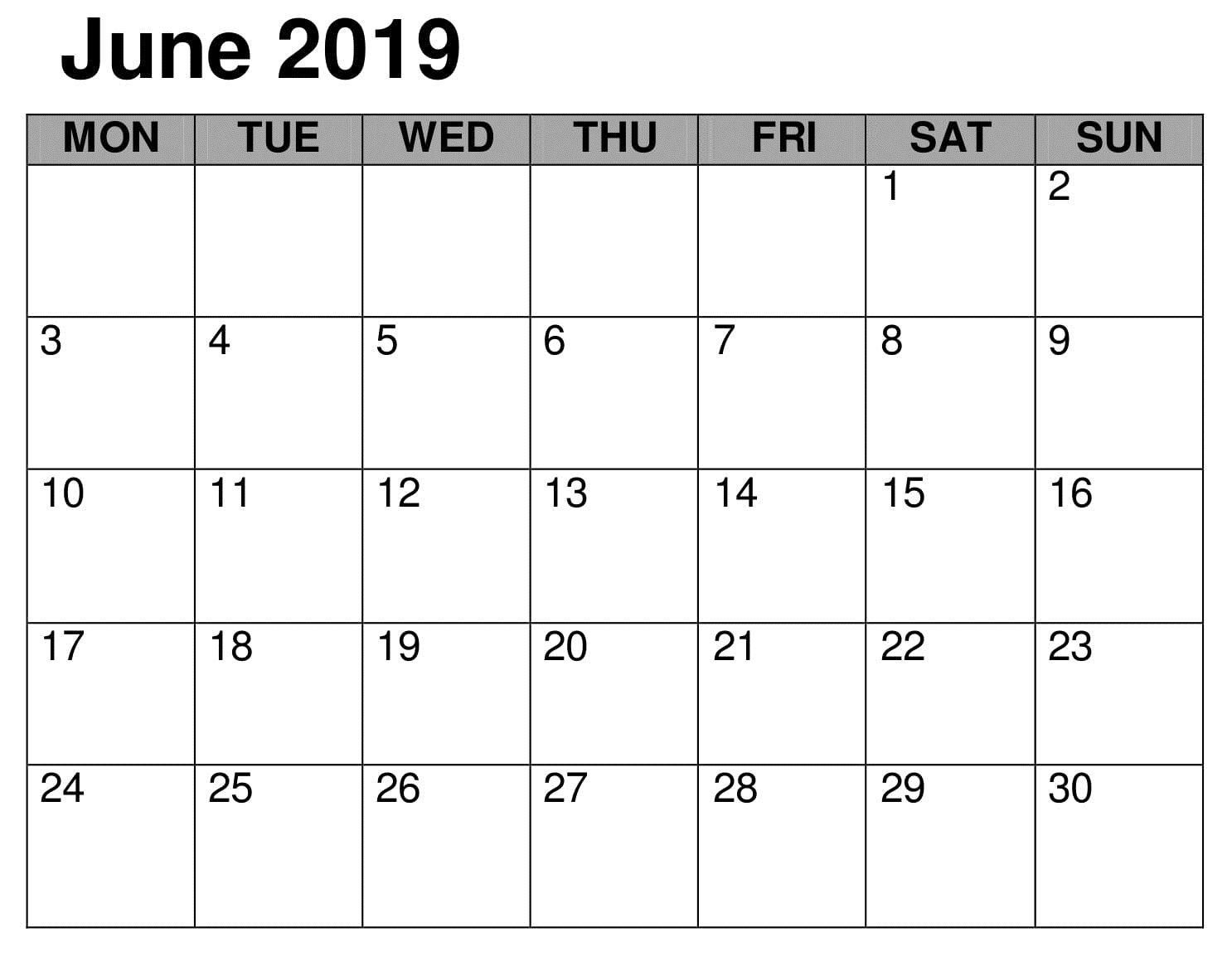 Calendar Printable June 2019 Word Printable Calendar Template