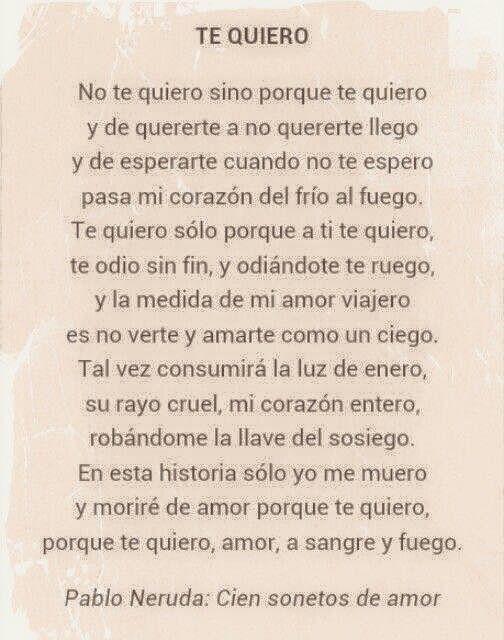 Te Quiero Pabloneruda Neruda Amor Poemas De La Vida Poemas De Amor