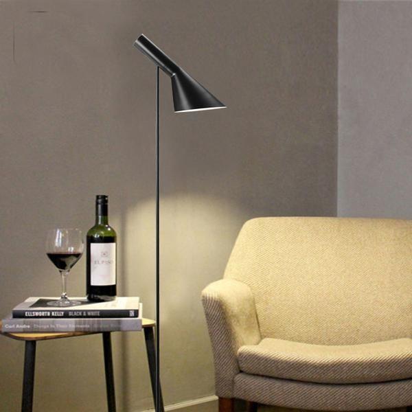 Post ModernDesign Louis Poulsen Arne Jacobsen AJ Floor Lamp Black/White  Metal Stand Light For Living Room/Bedroom E27 LED Bulb