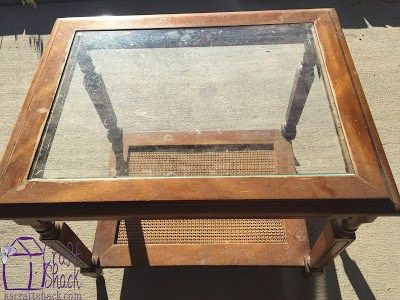 Refinished Side Table With Etched Glass Insert Dyi Glass Table