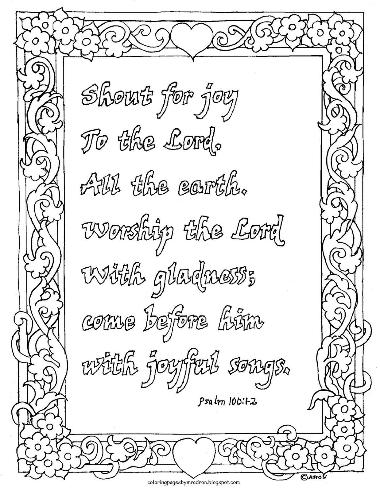 Psalm 100 1 2 Jpg 1 238 1 600 Keppont Coloring Pages For Kids