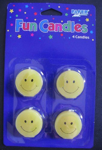 4 Smiley Face Smile Birthday Cake Candles By Paper Art