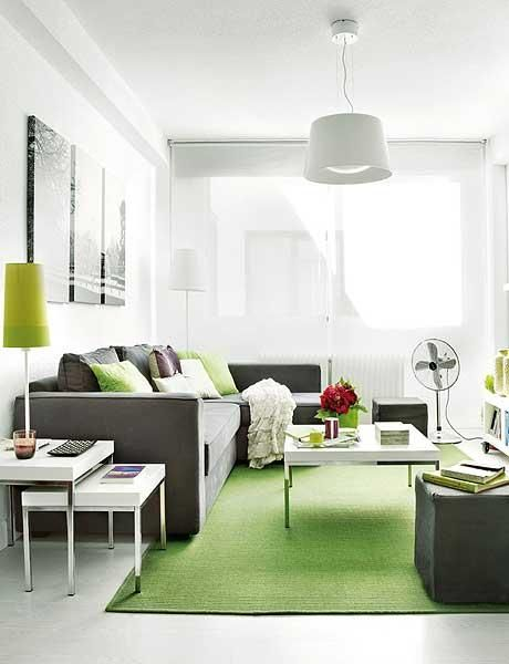 Diseño en 40m² decoración de departamentos pequeños Green living - Living Room Ideas For Apartments