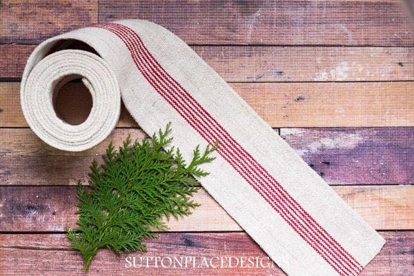 Vintage Grain Sack Red Striped Ribbon 100 in. x 4.5 in.