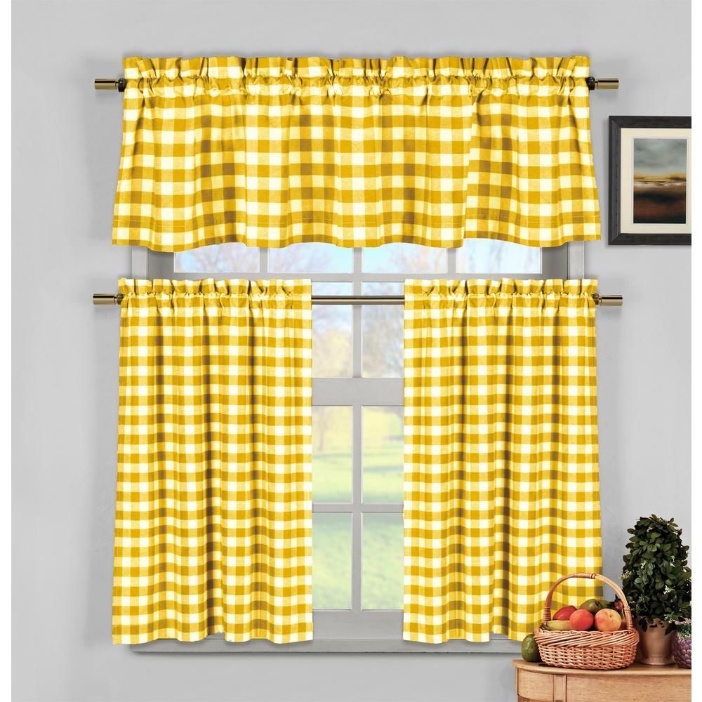 Duck River Kingston Kitchen Valance In Tiers Yellow 15 In W X 58 In L 3 Piece Kitchen Curtains Kitchen Curtain Sets Small Window Curtains