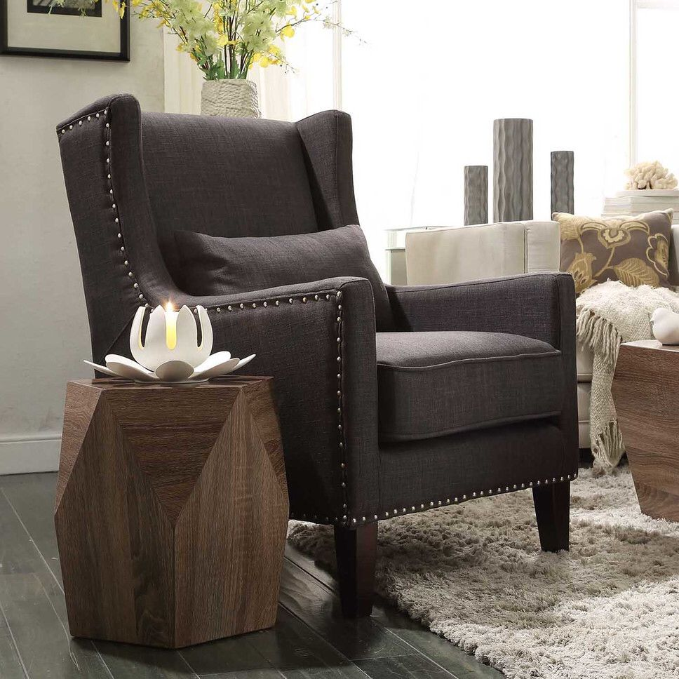 Inspire Q Murray Wingback Arm Chair - Dark Grey