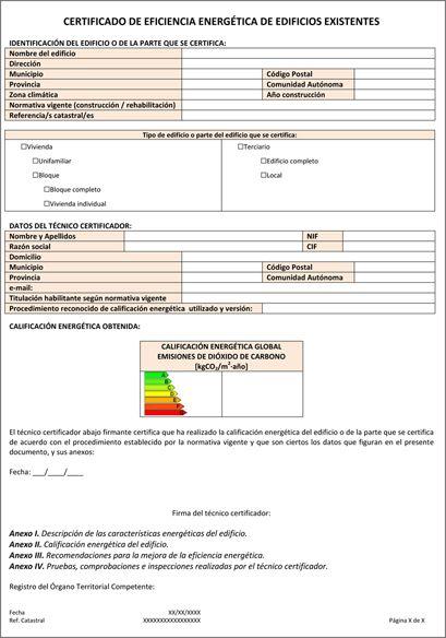 El Certificado De Eficiencia Energetica El Informe Hoja A Hoja