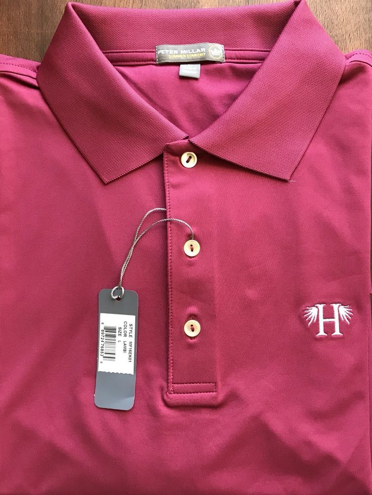 New Peter Millar E4 Summer Comfort Red H Embroidered Golf Logo Polo Shirt Size L  | eBay