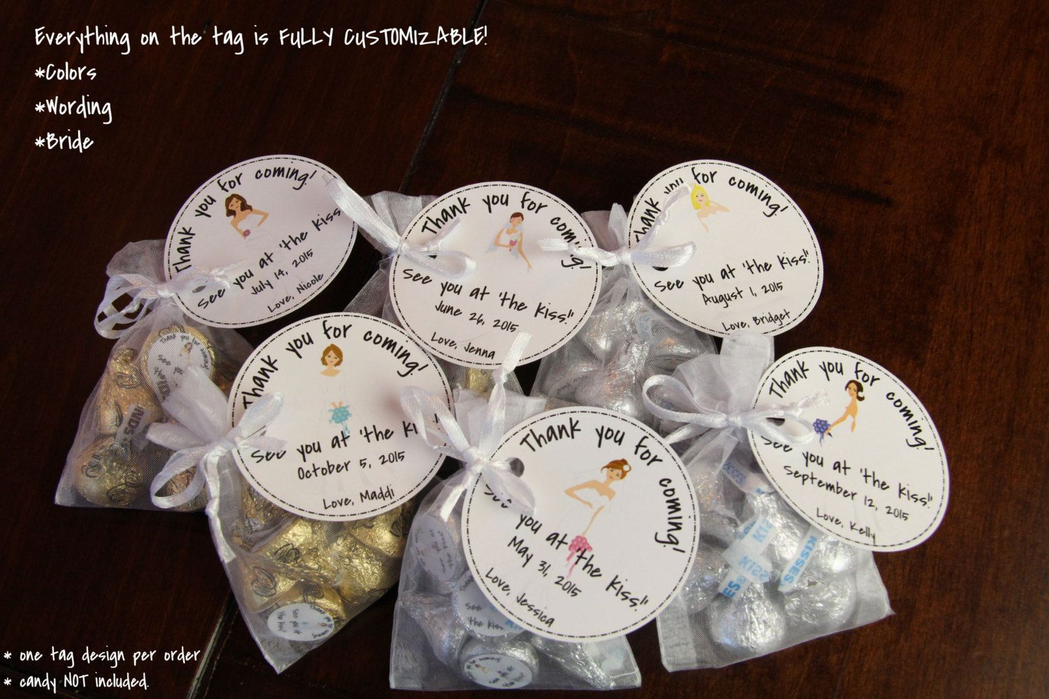 """Bridal Shower Favor Kit TAGS ONLY """"See You at the Kiss"""