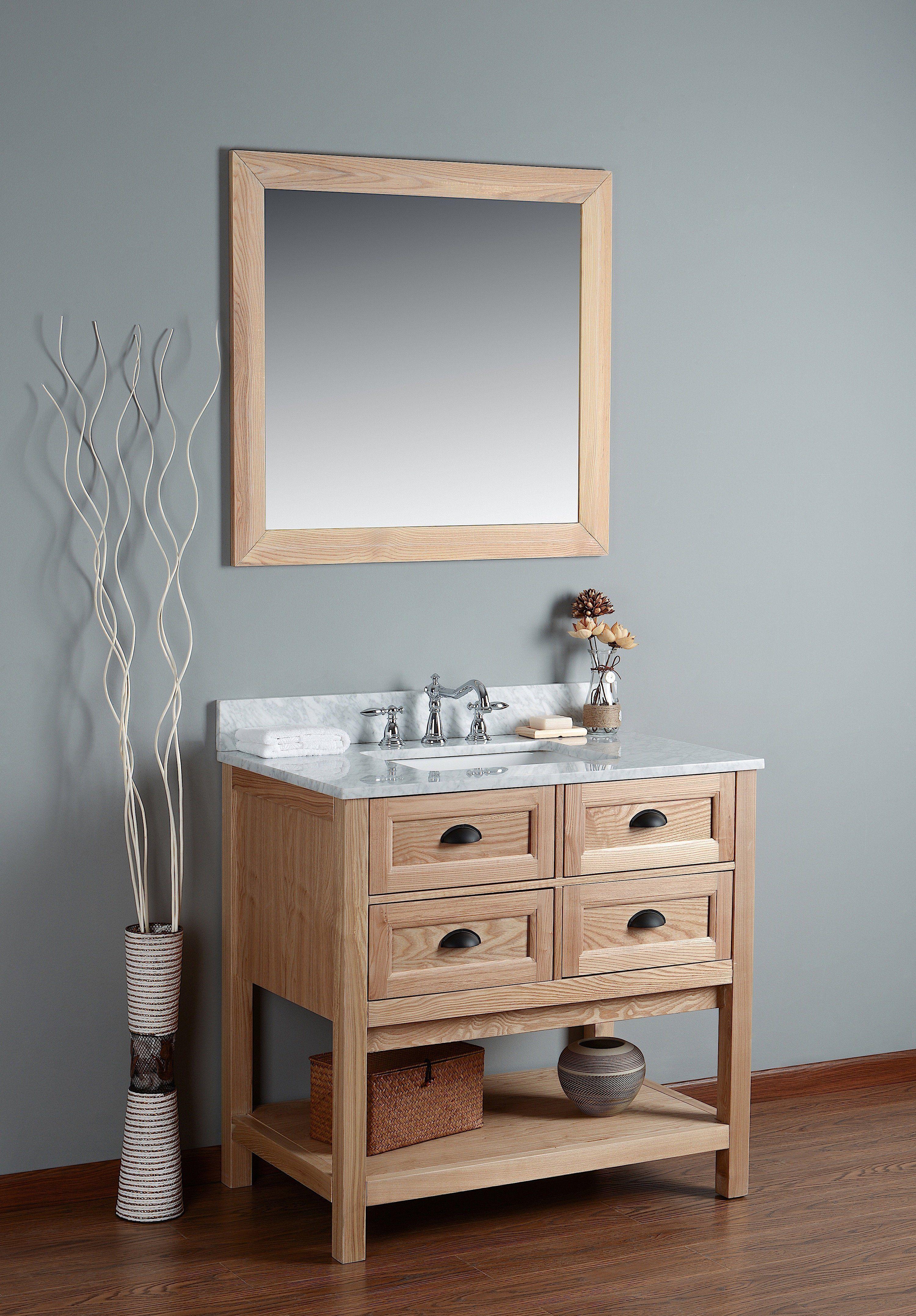 Rubeza 36 Allwood Bathroom Vanity Combo Set White Italian Marble Carrara Top Marblebathrooms Bathroom Vanity Combo Rustic Bathroom Vanities Vanity Combos
