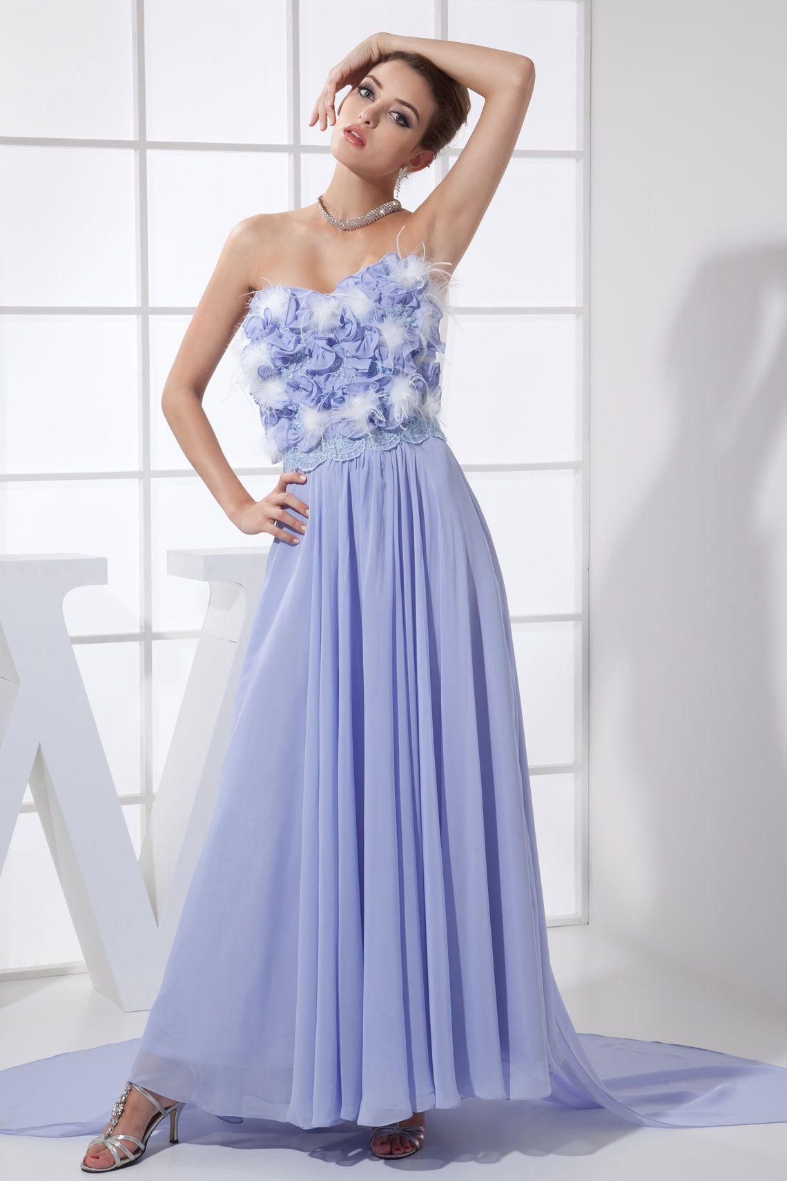 Chiffon Zipper Ruffles Natural Waist Feathers Pleated Evening Dress ...