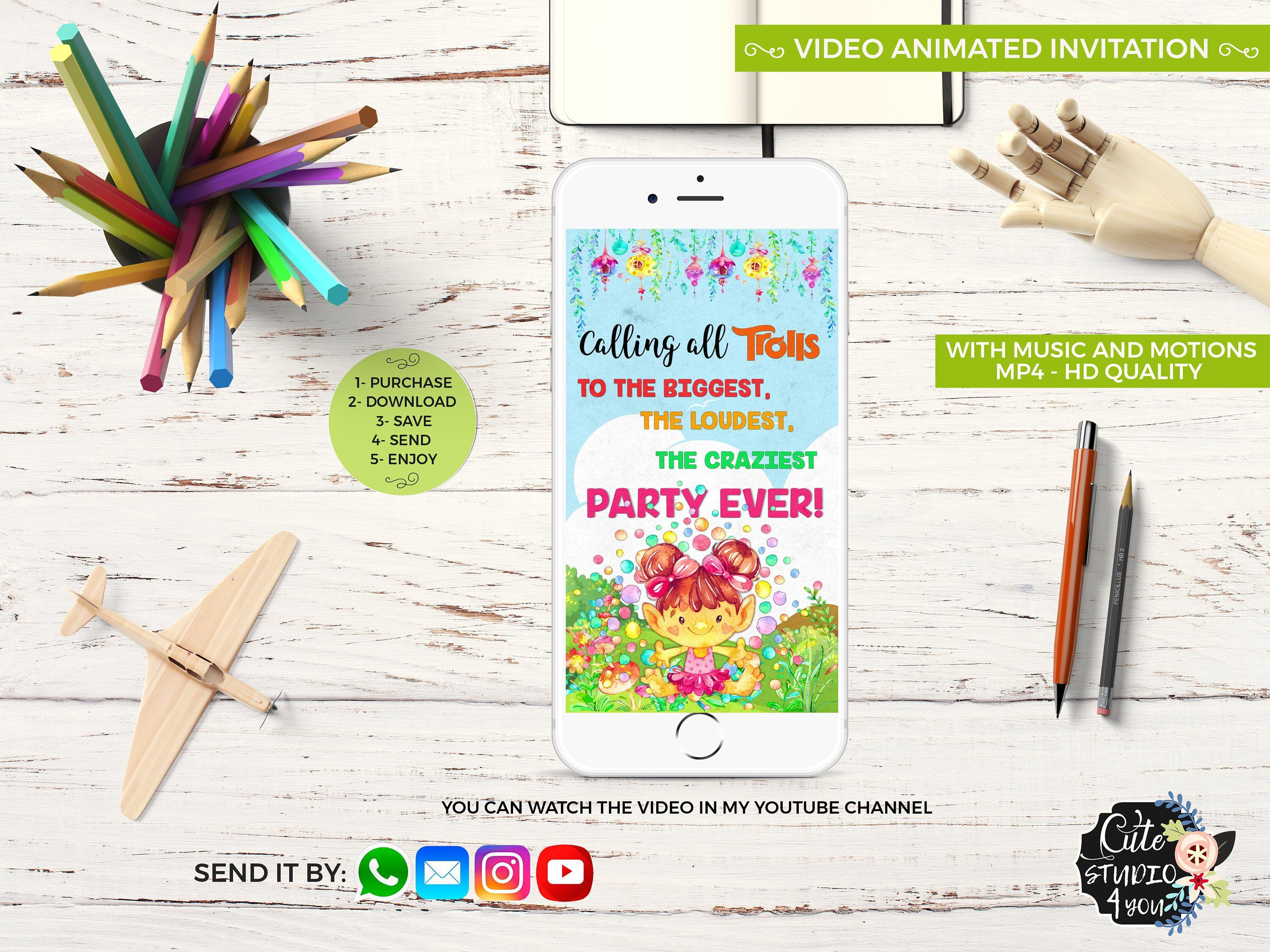 Excited To Share This Item From My Etsy Shop Birthday Animated Video Invitation Trolls Watercolors Party
