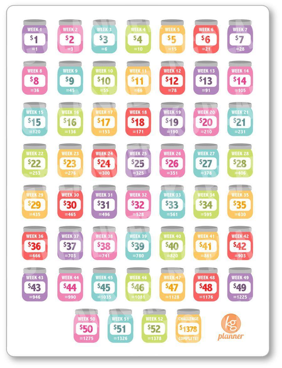 finances savings challenge rainbow planner stickers financial