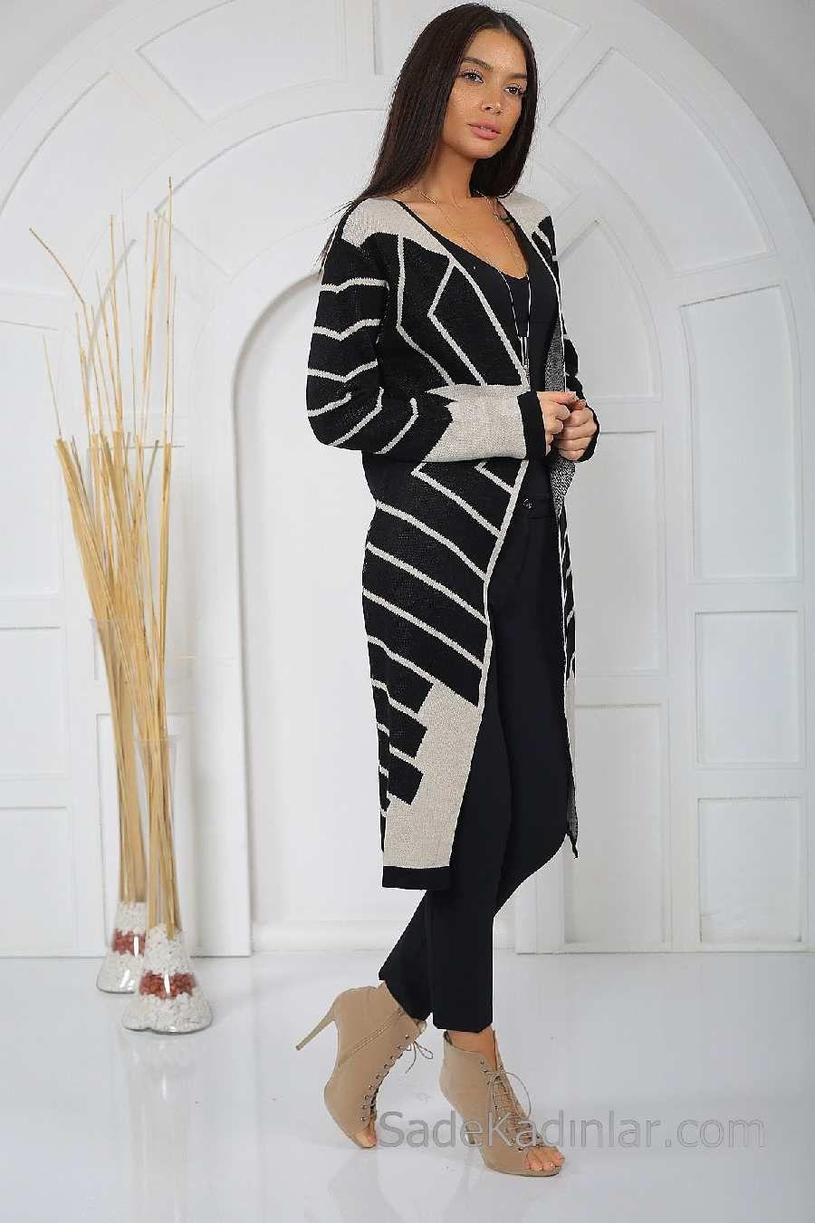 2019 Uzun Hirka Modelleri Siyah Uzun Geometrik Desenli Moda Siyah Hirkalar