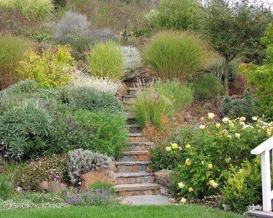 Hanggarten Treppen Gestaltung Bepflanzung Ziergraser Mix Sloped