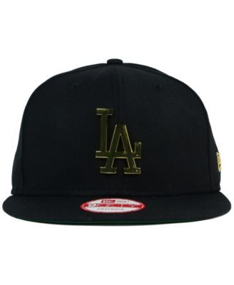 sports shoes b759f 07c49 New Era Los Angeles Dodgers League O Gold 9FIFTY Snapback Cap - Black  Adjustable