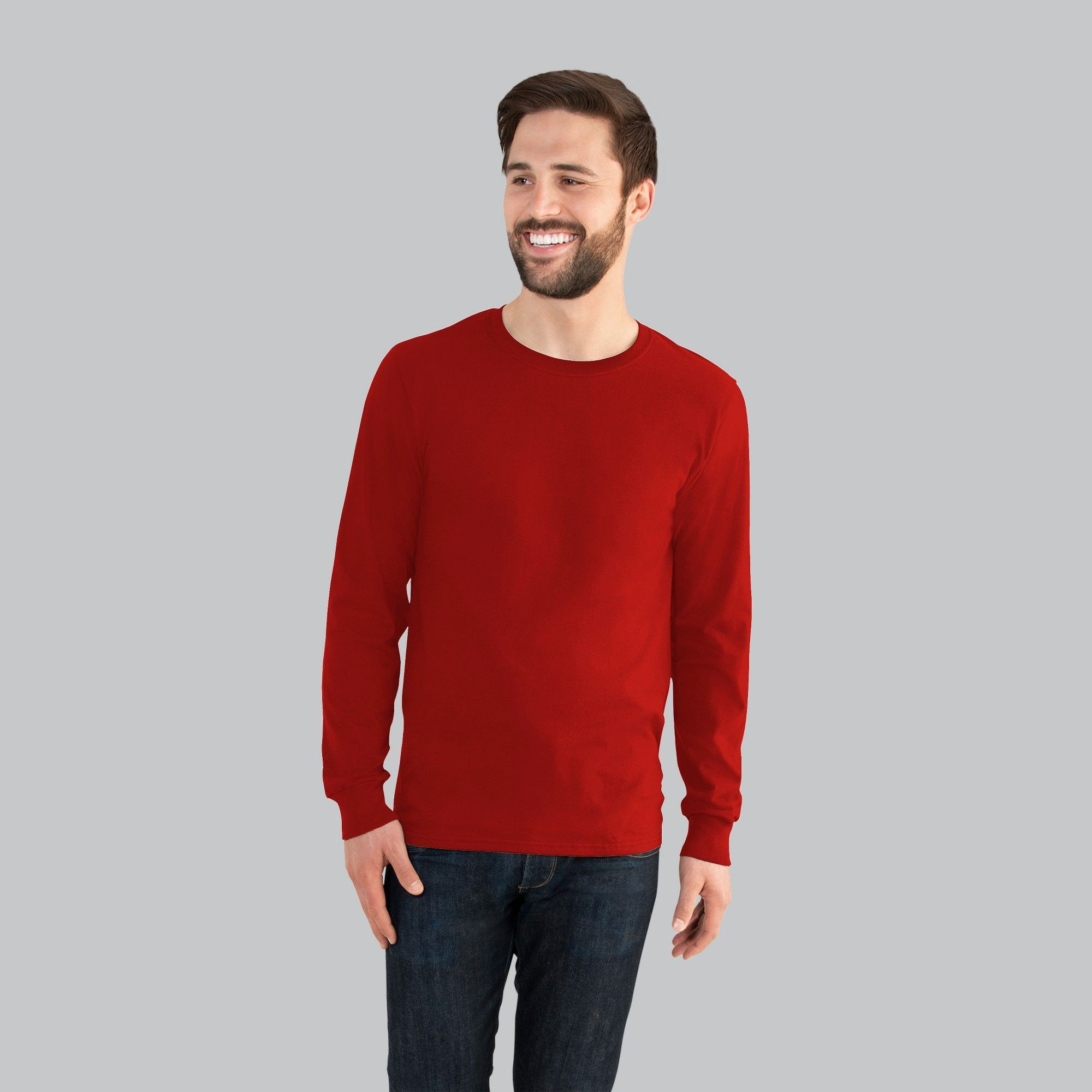 Fruit of the Loom Men's Long Sleeve TShirt Red 2XL