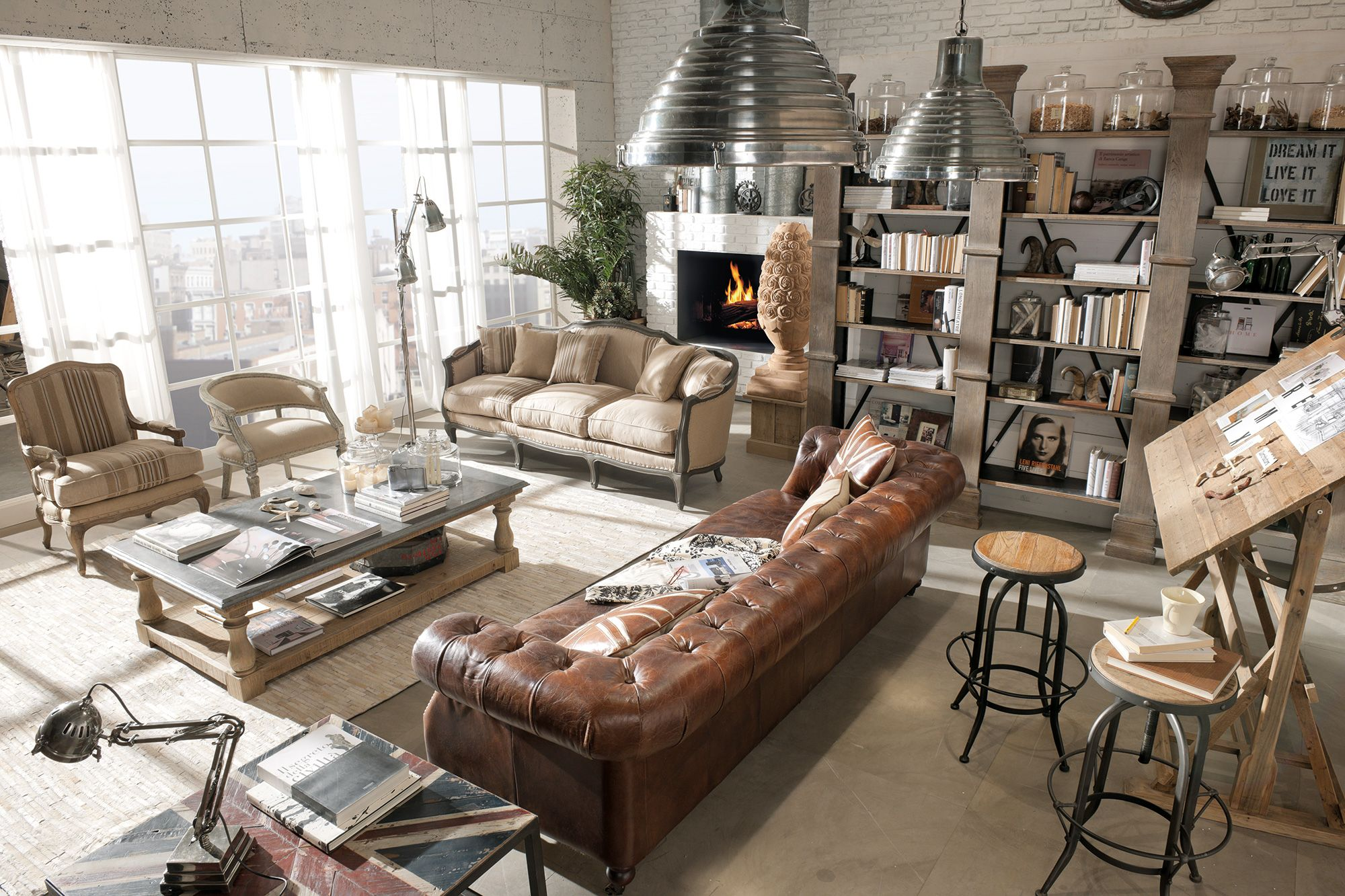 Arredamento country vintage industrial loft urban for Arredamento stile industriale loft