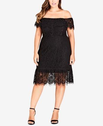 5e842575359 City Chic Trendy Plus Size Off-The-Shoulder Lace Dress - Black 18W