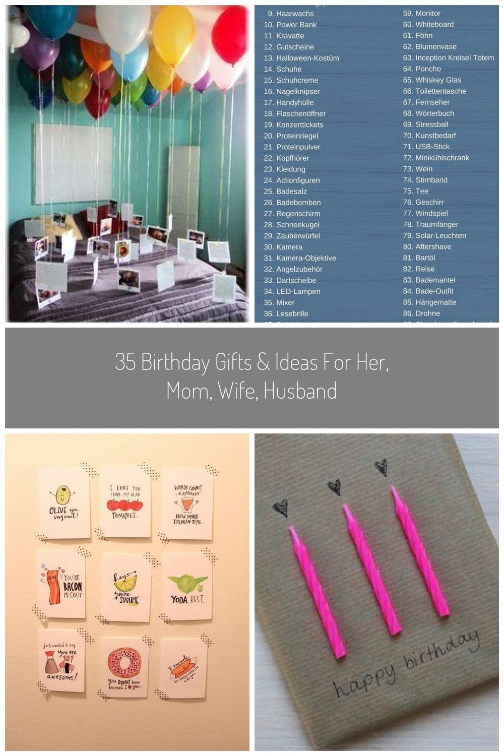 35 Birthday Gifts Ideas For Her Mom Wife Husband Sisterhi Guys I Was Asked Several Times To Compile A Gift List With A Few G In 2020 Stressball Blumen Vase Gutscheine