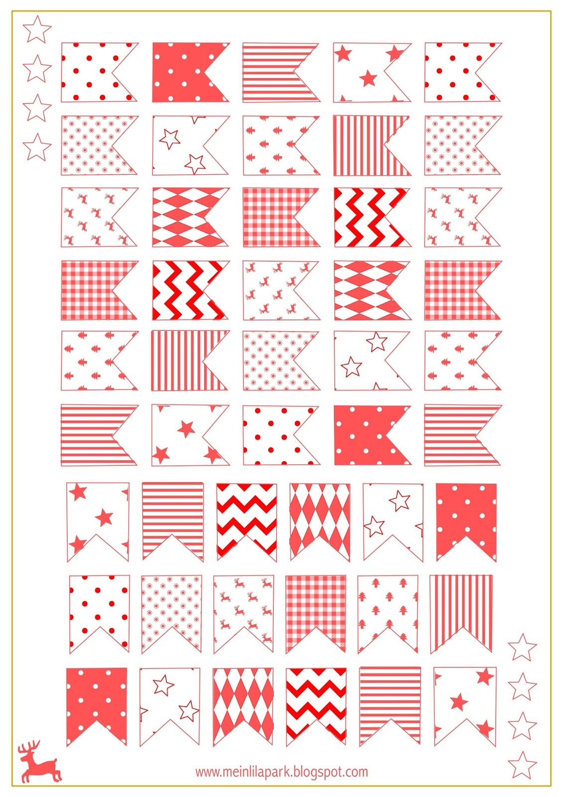 graphic about Printable Freebie titled Absolutely free printable Xmas flags - ausdruckbare Sticker