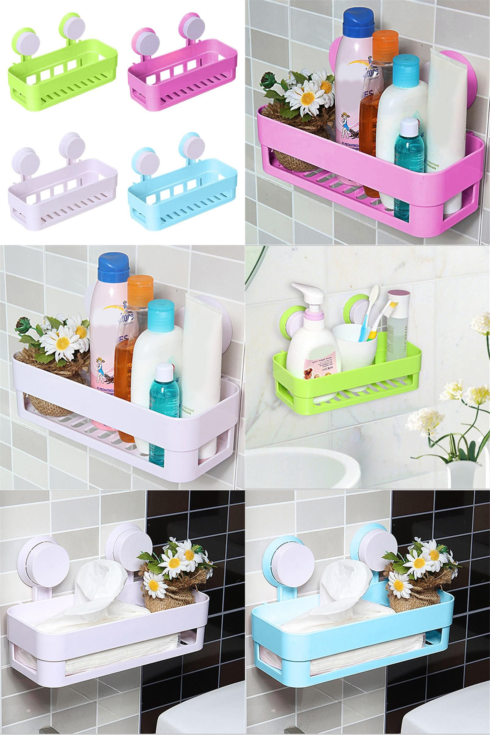 Plastic removable bath shelf wall mounted cosmetic holder storage -  Visit To Buy 26 12 7cm Multipurpose Kitchen Storage Holder Bathroom Shelf