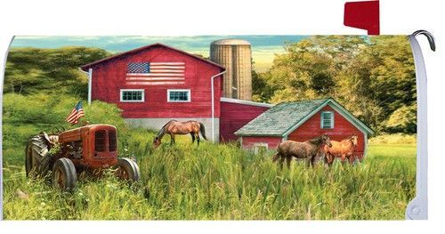 Patriotic Tractor And Barn Mailbox Cover Mailbox Covers Custom Decor Horse Farms