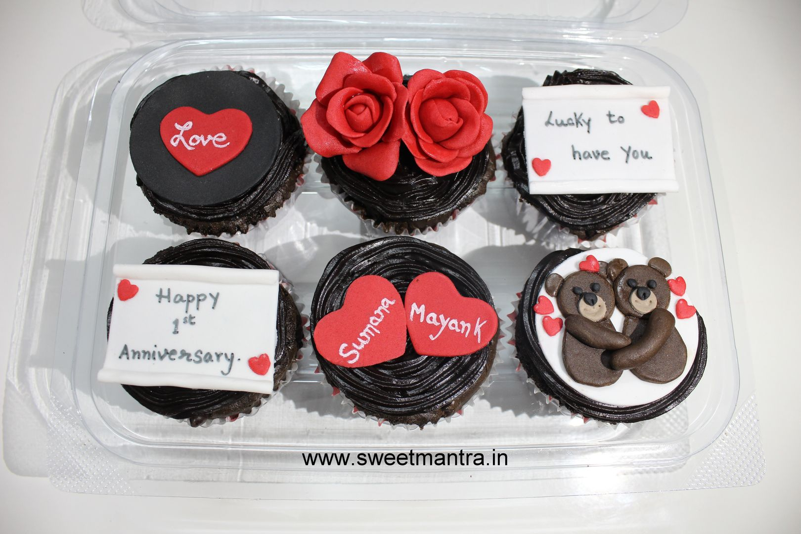Homemade eggless 3d custom wedding anniversary theme cupcakes at
