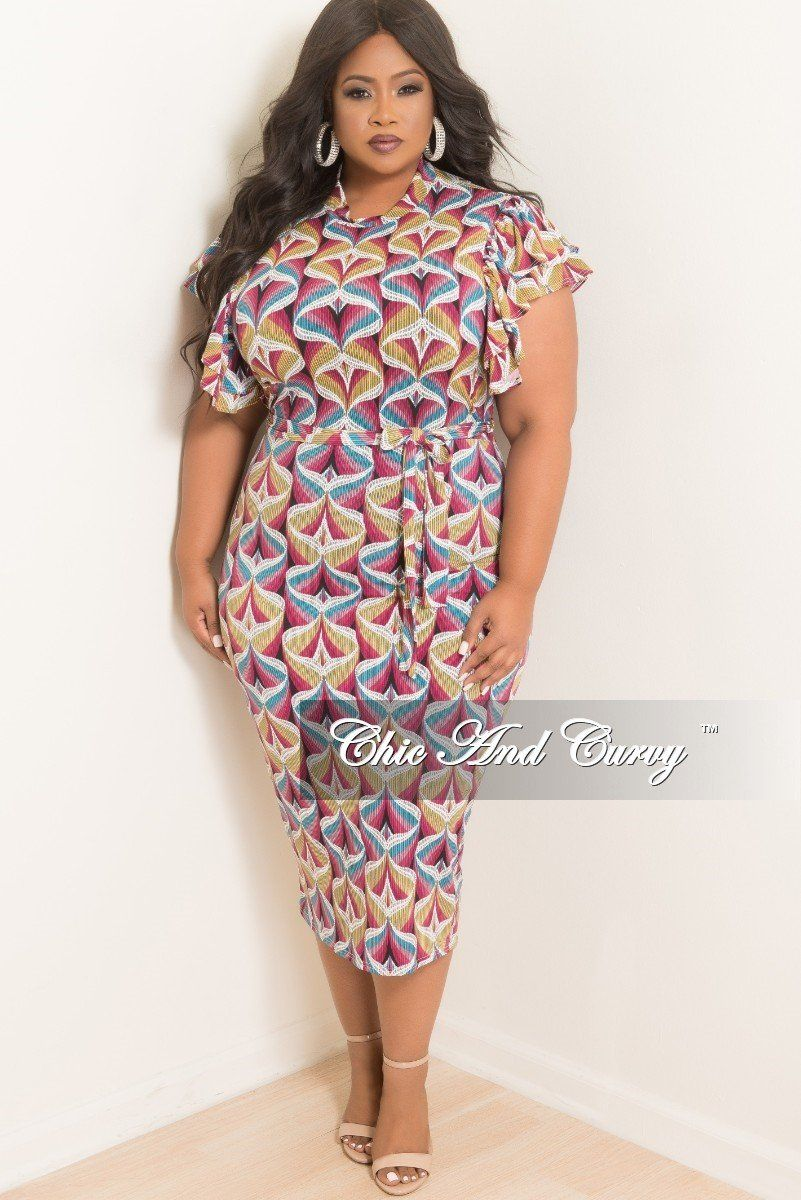 e706d957094e Plus Size BodyCon Dress with Ruffle Sleeves and Back Gold Zipper – Chic And  Curvy