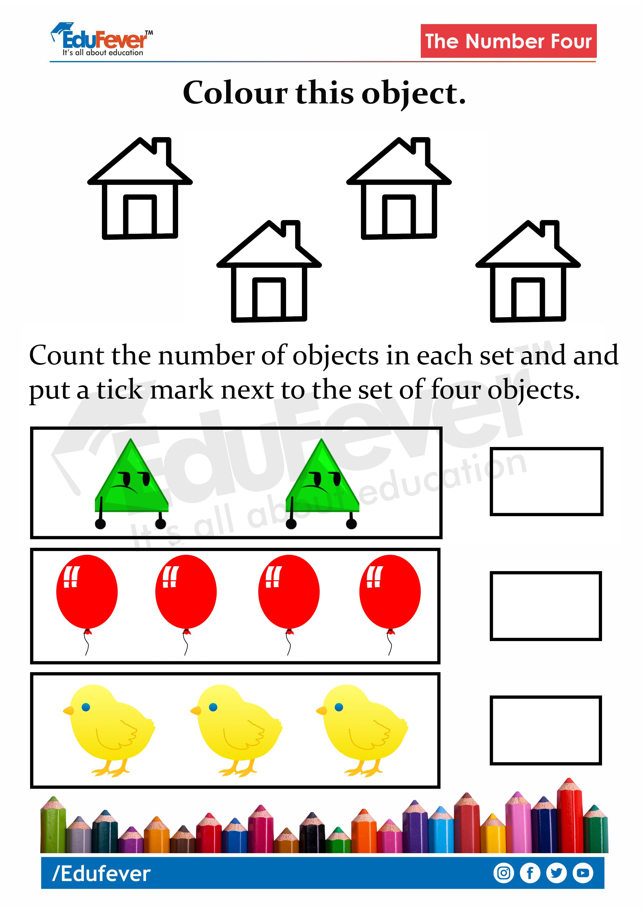 LKG Worksheet Counting and Colouring in 2020 Lkg