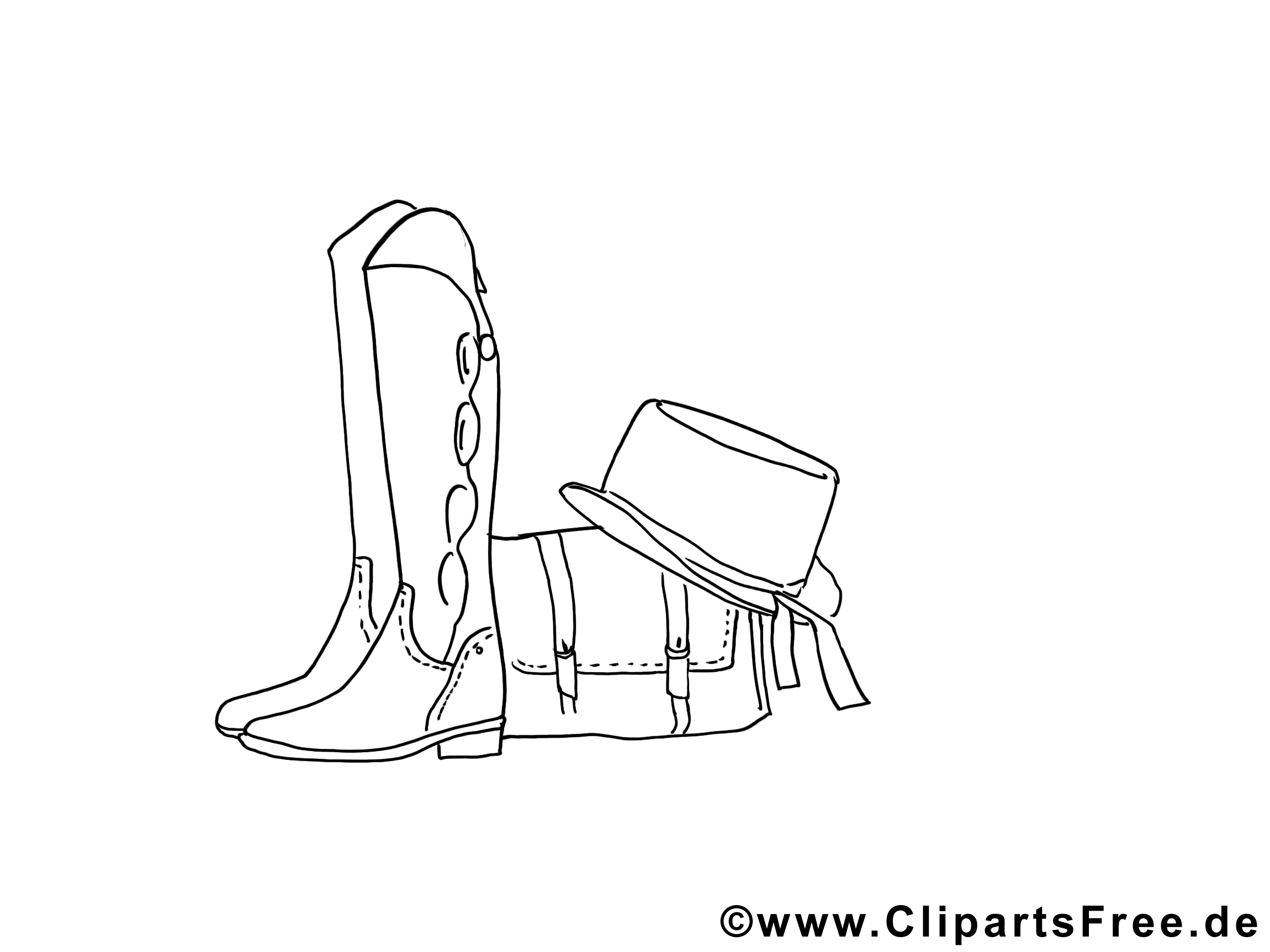 Bilder zum Ausmalen und Drucken Stiefel, Tasche, Hut ...