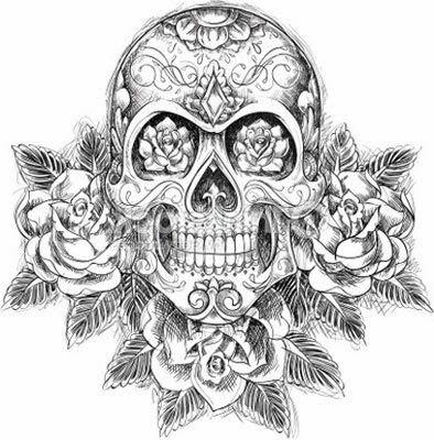 Skull With Flowers I Love The Detail In This Rl Tatuagem