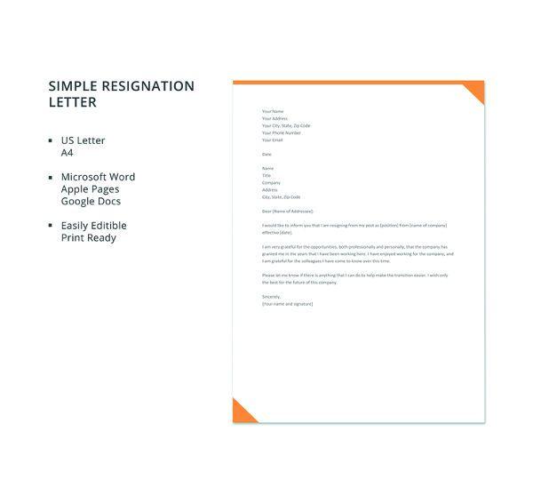15 simple resignation letter templates pdf doc free premium templates