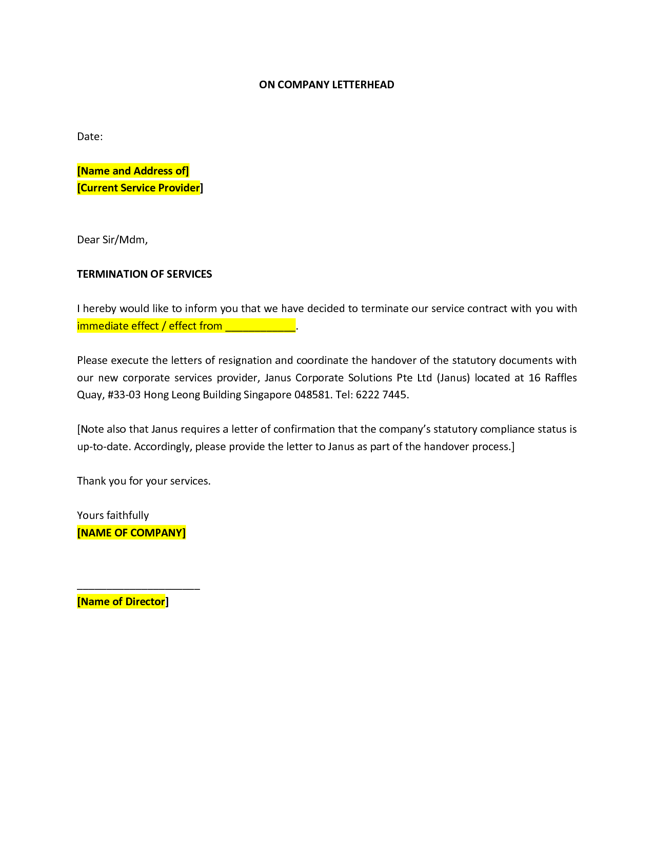 Professional Termination Letter Sample Business Templates Free