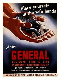 Poster From The 1940s Showing General Accident S Car Insurance