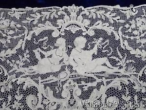 Luscious-Museum-Quality-Antique-Figural-Needle-Lace-Coverlet-ITALIAN-Point www.Vintageblessings.com