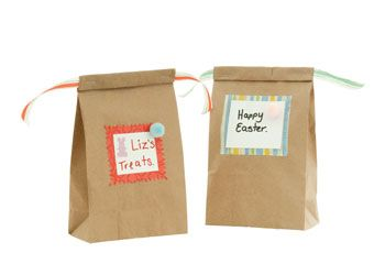 Easter Paper Treat Bag. Decorate these natural bags with different materials to create beautiful treat bags to give to your favourite person at Easter.