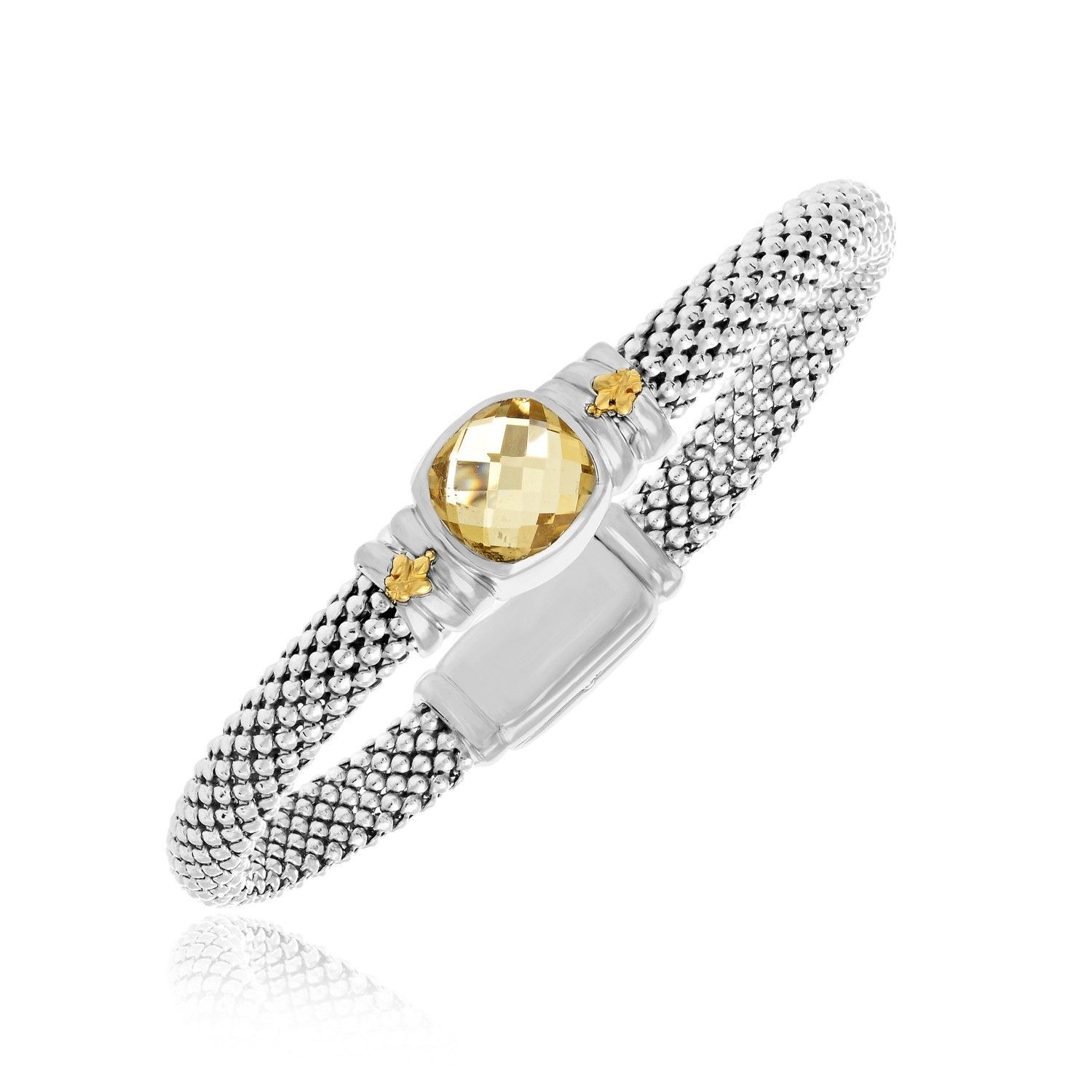 18K Yellow Gold & Sterling Silver Citrine Accented Popcorn Style Bracelet