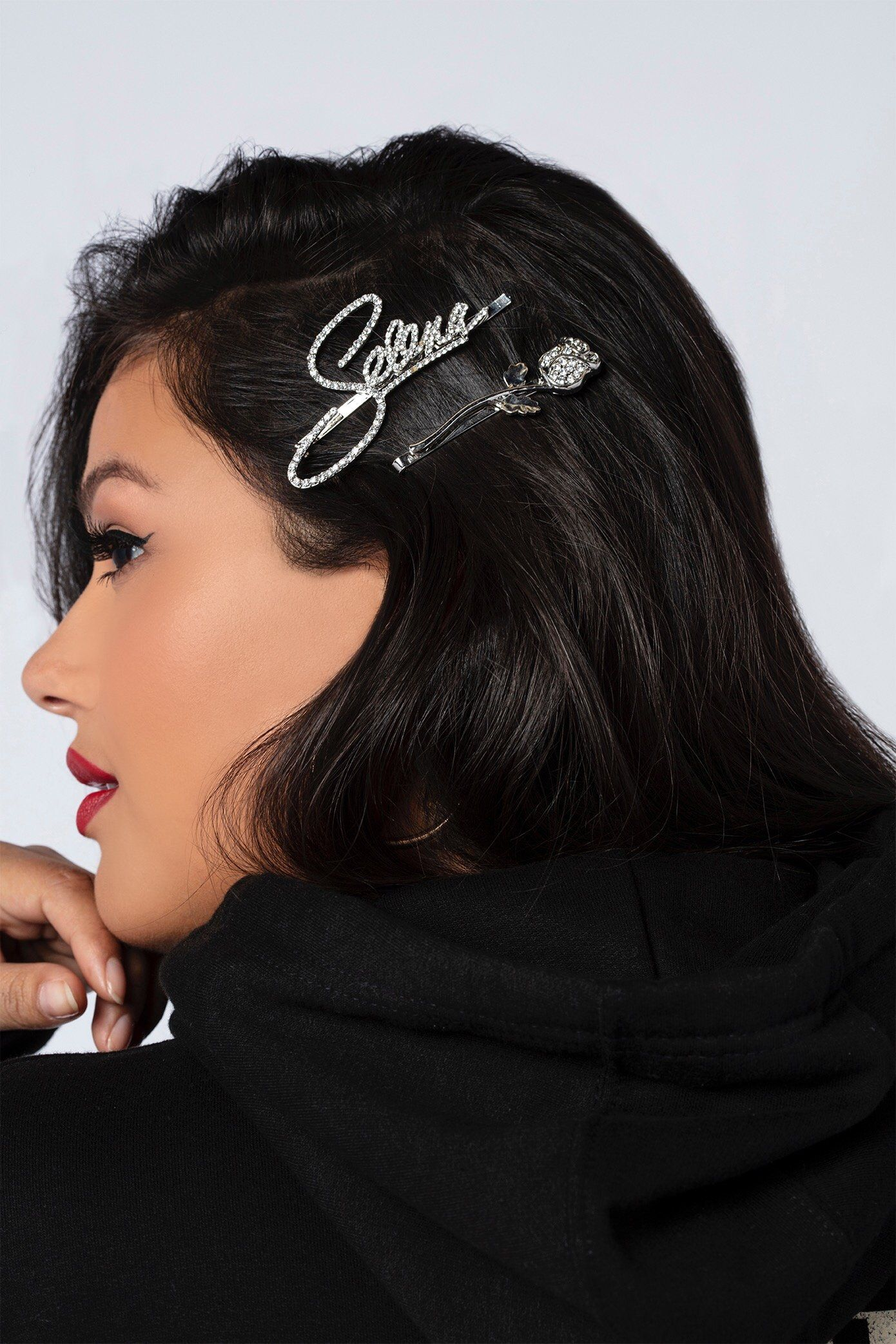 Selena\u2019s  Leather SPRING flower in large claw hair clip