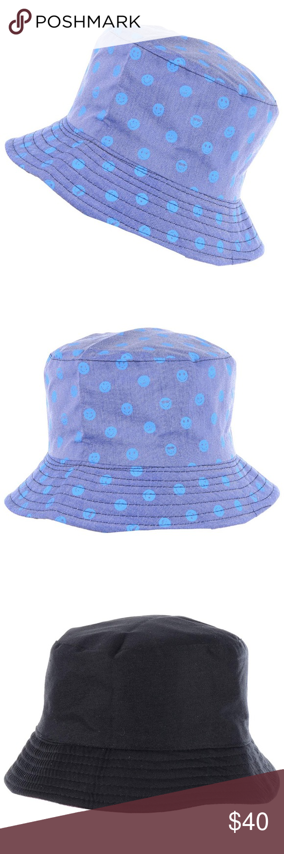 Blue Men S Emoji Face Pattern Bucket Hat Nwt Blue Man Emoji Faces Summer Hats