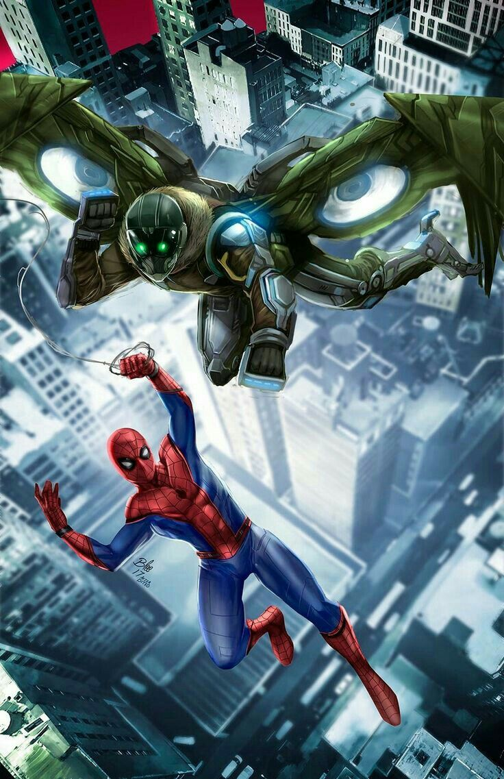 Spider Man And Vulture With Images Spiderman Art Spiderman