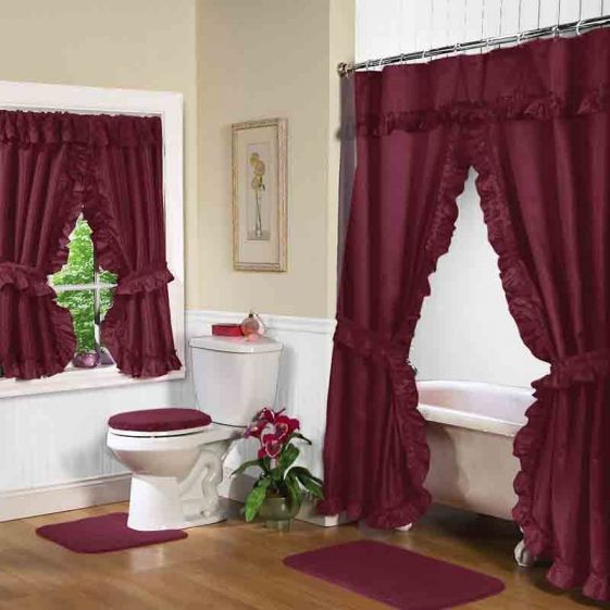 Ruby Burgundy Double Swag Shower Curtain W Available Window
