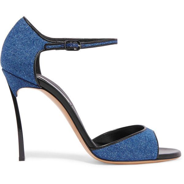 Casadei Leather-trimmed denim sandals (465 AUD) ❤ liked on Polyvore featuring shoes, sandals, mid denim, ankle strap high heel sandals, ankle wrap sandals, blue denim shoes, high heel sandals and ankle tie sandals