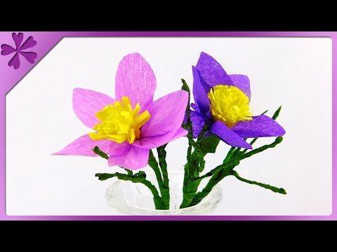 Diy Tissue Paper Pasque Flower Eng Subtitles Speed Up 206 Paper Flowers Tissue Paper Diy Flowers