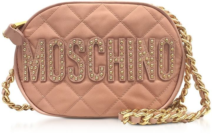 Moschino Pink Nylon Quilted Oval Crossbody Bag w Studs Logo ... 0e0a5241328ec