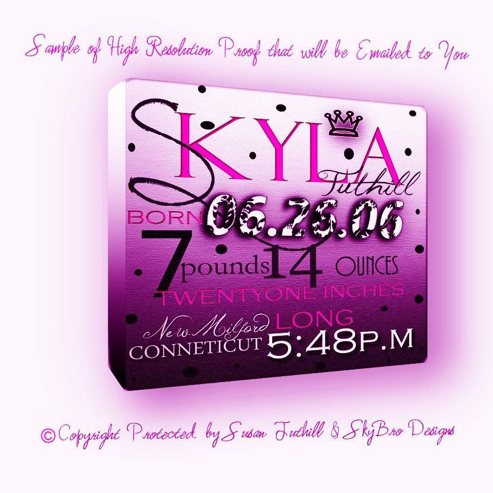 16 x 16 Birth Announcement printed on Canvas or by skyandbrodie1 – Printed Birth Announcements