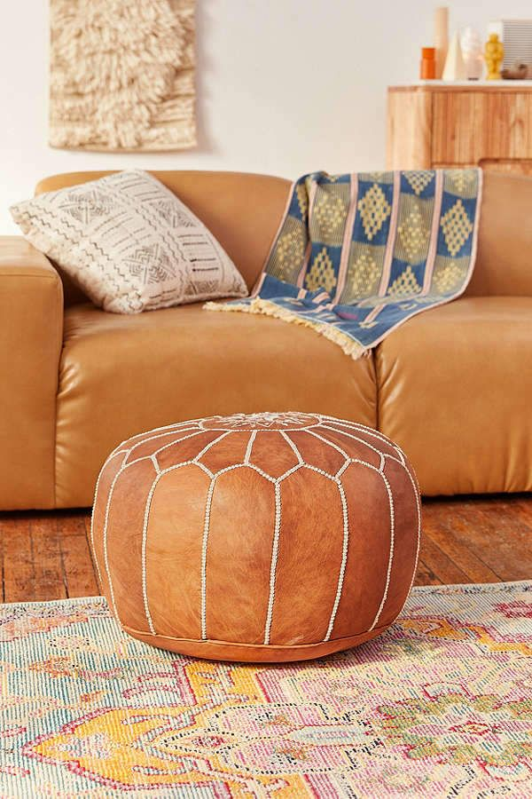 Urban Outfitters Traditional Leather Floor Pouf Bohemian Life Adorable Pouf Urban Outfitters